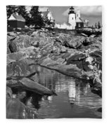 Pemaquid Point Lighthouse Maine Black And White Fleece Blanket