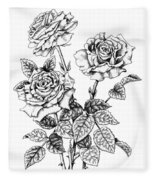Pen And Ink Roses Fleece Blanket