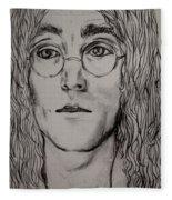 Pencil Portrait Of John Lennon  Fleece Blanket