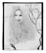 Pencil Sketch Of Blonde Hair Girl Fleece Blanket