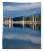 Pend Oreille River Pilings Fleece Blanket