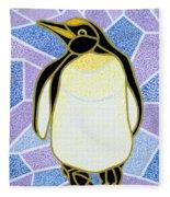 Penguin On Stained Glass Fleece Blanket