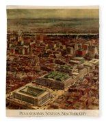 Pennsylvania Station 1910 Fleece Blanket