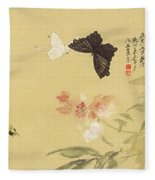 Peonies And Butterflies Fleece Blanket