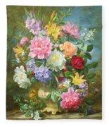 Peonies And Mixed Flowers Fleece Blanket