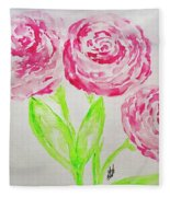 Peonies In Bloom Fleece Blanket
