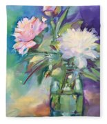 Peonies In Jar Fleece Blanket