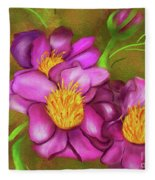Peonies On Holiday Fleece Blanket