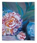 Peony And Chinese Vase Fleece Blanket
