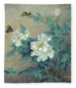 Peony Butterfly Fleece Blanket