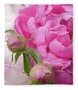 Peony Pair In Pink And White  Fleece Blanket