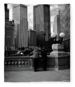 People And Skyscrapers - Square Fleece Blanket