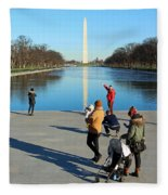 People At The Reflecting Pool Fleece Blanket