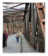 People Crossing Old Yugoslav Weathered Metal Bridge Crossing In Bosnia Hercegovina Fleece Blanket
