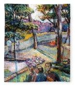 People In Landscape Fleece Blanket