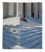 People On Steps With Columns Fleece Blanket