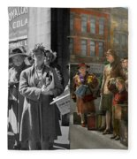 People - People Waiting For The Bus - 1943 - Side By Side Fleece Blanket