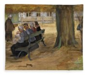 People Sitting On A Bench In Bezuidenhout. The Hague Fleece Blanket