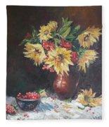 Still-life With Sunflowers Fleece Blanket