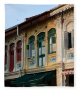 Peranakan Architecture Design Houses And Windows Joo Chiat Singapore Fleece Blanket