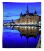 Perfect Riddarholmen Blue Hour Reflection Fleece Blanket