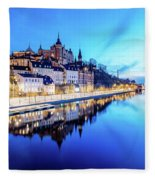 Perfect Sodermalm And Mariaberget Blue Hour Reflection Fleece Blanket