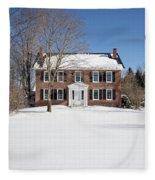 Period Vintage New England Brick House In Winter Fleece Blanket