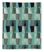 Perspective Compilation With Wood Grain And Teal Fleece Blanket