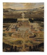 Perspective View Of The Chateau Gardens And Park Of Versailles Fleece Blanket