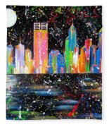 Perth Skyline Alla Pollock  Fleece Blanket