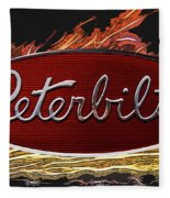 Peterbilt Emblem In Flames Fleece Blanket