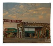 Petrified Gas Station After Rain Fleece Blanket