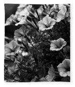 Petunias 1 Black And White Fleece Blanket