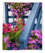 Petunias On Blue Porch Fleece Blanket