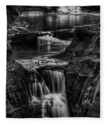 Pewits Nest Waterfalls In Black And White Fleece Blanket