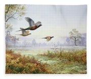 Pheasants In Flight  Fleece Blanket