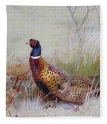 Pheasants In The Snow Fleece Blanket