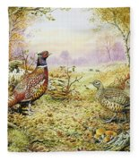 Pheasants In Woodland Fleece Blanket