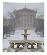 Philadelphia Art Museum From The West In Winter Fleece Blanket