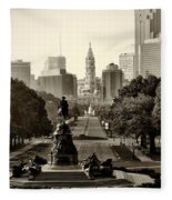 Philadelphia Benjamin Franklin Parkway In Sepia Fleece Blanket