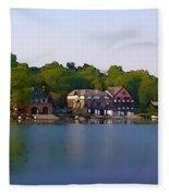 Philadelphia Boat House Row Fleece Blanket