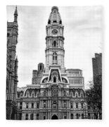 Philadelphia City Hall Building On Broad Street Fleece Blanket