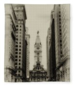 Philadelphia City Hall From South Broad Street Fleece Blanket