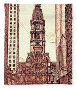 Philadelphia City Hall - Pencil Fleece Blanket