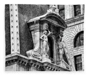 Philadelphia City Hall Window In Black And White Fleece Blanket