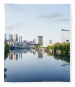 Philadelphia Cityscape Along The Schuylkill River Fleece Blanket