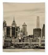 Philadelphia From The Waterfront In Sepia Fleece Blanket