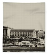 Philadelphia Museum Of Art And The Fairmount Waterworks From West River Drive In Black And White Fleece Blanket