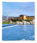 Philadelphia Museum Of Art And The Philadelphia Waterworks Fleece Blanket