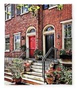 Philadelphia Pa - Townhouse With Red Geraniums Fleece Blanket